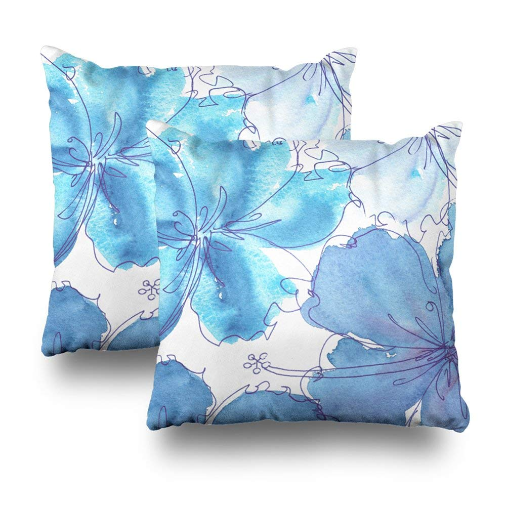 "Soopat Decorative Pillow Cover Pack of 2, 20""X20"" Two Sides Printed Pillow Blue Hibiscus Flower Watercolor Throw Pillow Cases Decorative Home Decor Indoor Nice Gift Kitchen Garden Sofa"