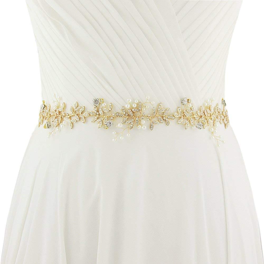 ULAPAN Wedding Belt Crystals Wedding Sash Rhinestones Bridal Sash Bridal Belt With Ribbon,SH95
