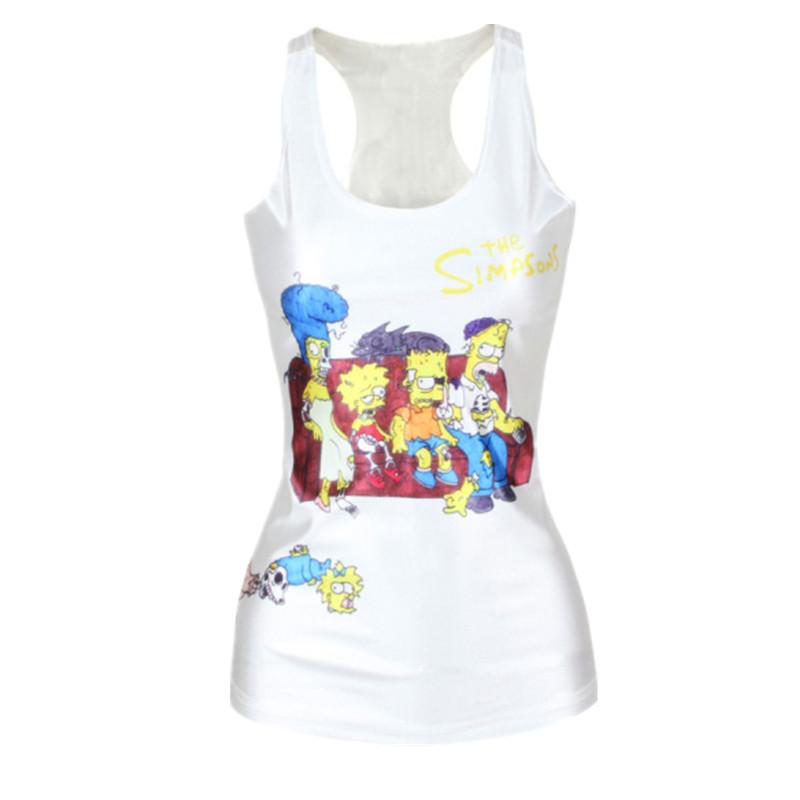 Восток вязание весна женщины футболки панк симпсоны камзол контейнер верхний лето жилет сексуальный узкие