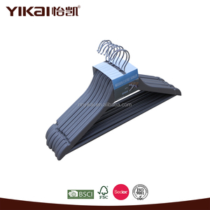Yikai popular grey color wooden clothes hangers for wardrobe