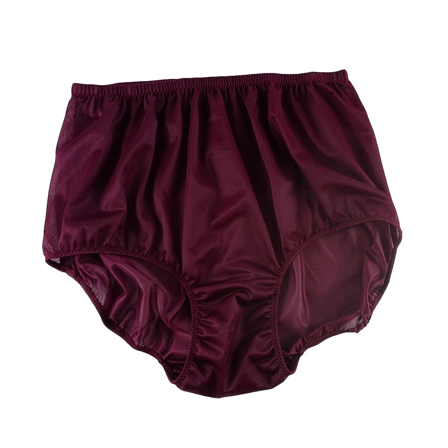 dcade346eb Get Quotations · Deep Red Granny Panties Briefs Sheer Nylon Underwear For  Women & Men Plus Size