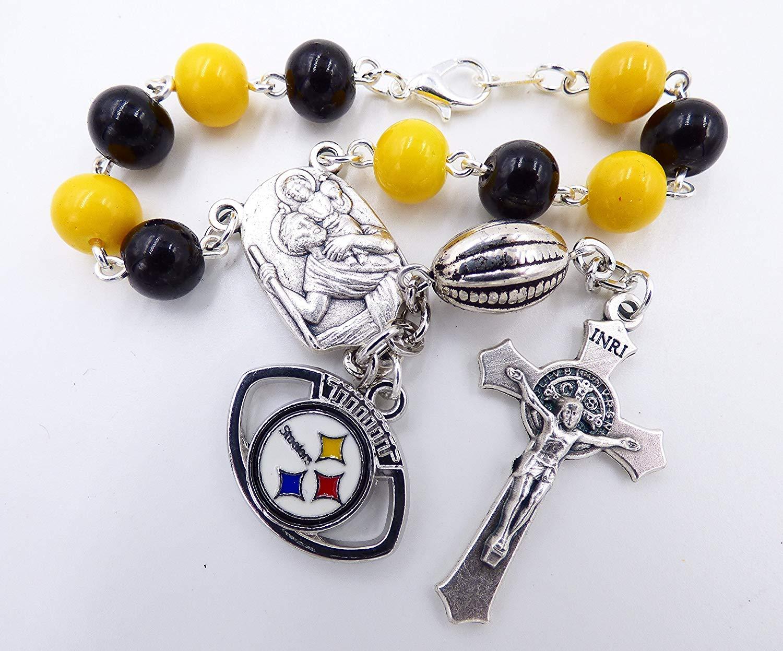 Single Decade St. Christopher Sports Team Auto Rosary - Pittsburgh Pro Football Catholic Rosary Beads