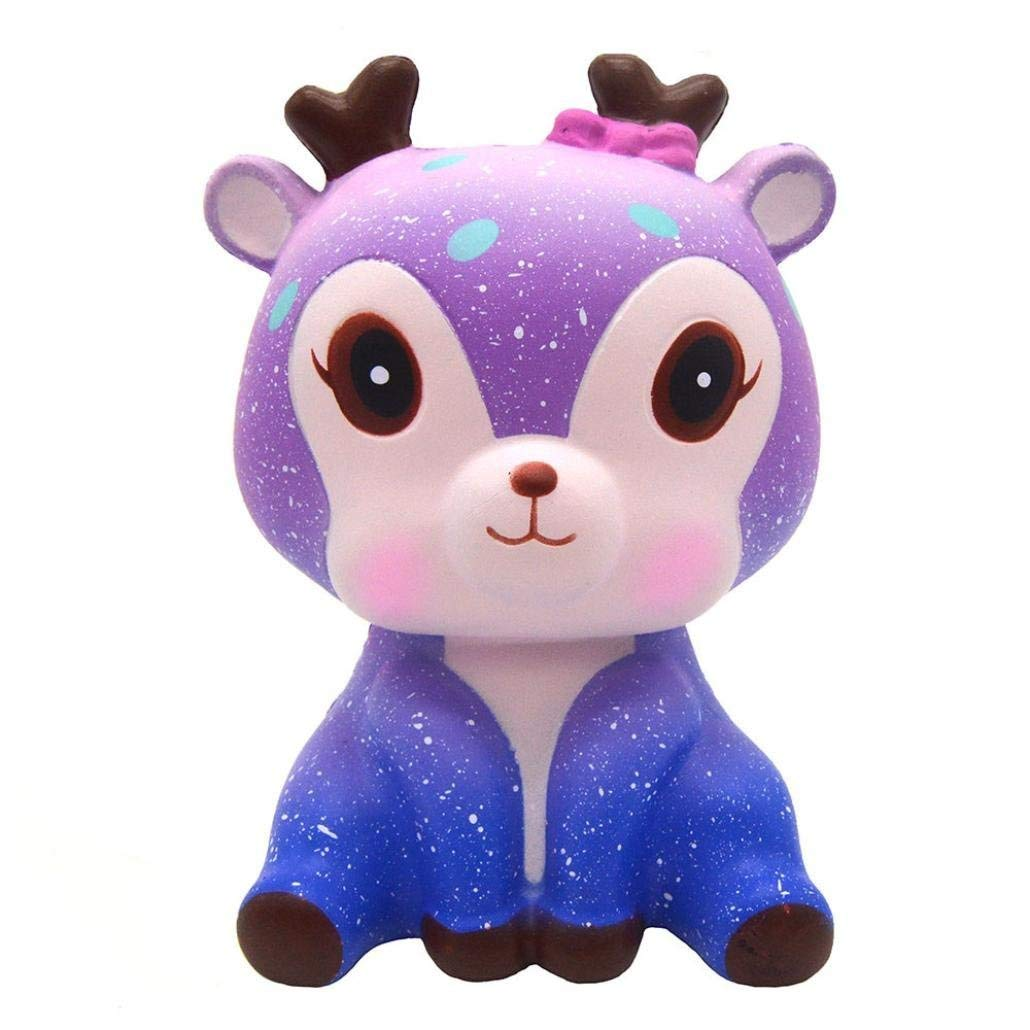 Drfoytg Clearance,Cute Squishy Deer Squeeze Cream Scented Stress Reliever Slow Rising Decompression Toy Galaxy Gift (Purple)