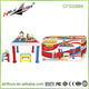 children multi-function plastic table Large Learning desk +building blocks+two plastic chairs