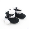 Winter Warm Black Leather Little Girls Boys Baby Flat Pom Pom Ankle Boot Fashion