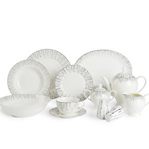 New products royal porcelain 47pcs 72pcs tableware silver plated dinner sets