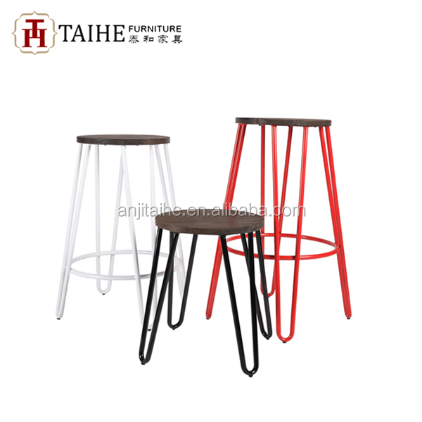 China bar stool supplier for metal bar stool with wooden seat