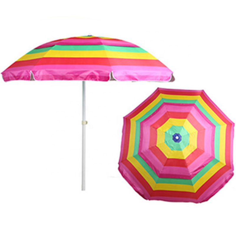 Latest designs sun and rain cheap price polyester outdoor beach umbrella with various strips designs