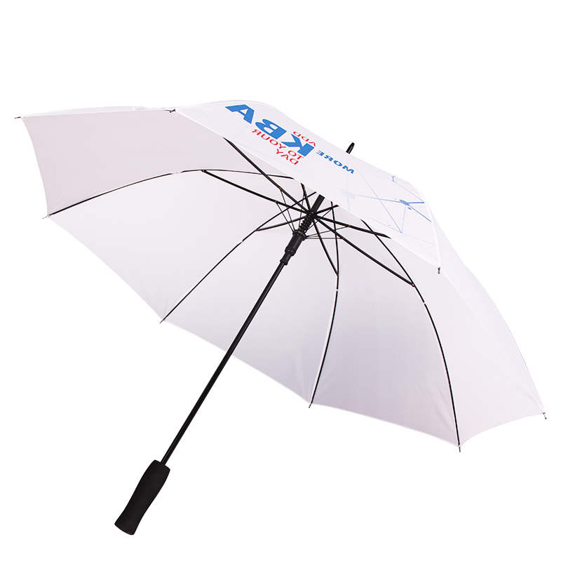 Factory Cheapest Promotional 46 Inch 8 Ribs Auto Open White Straight Advertising Umbrella