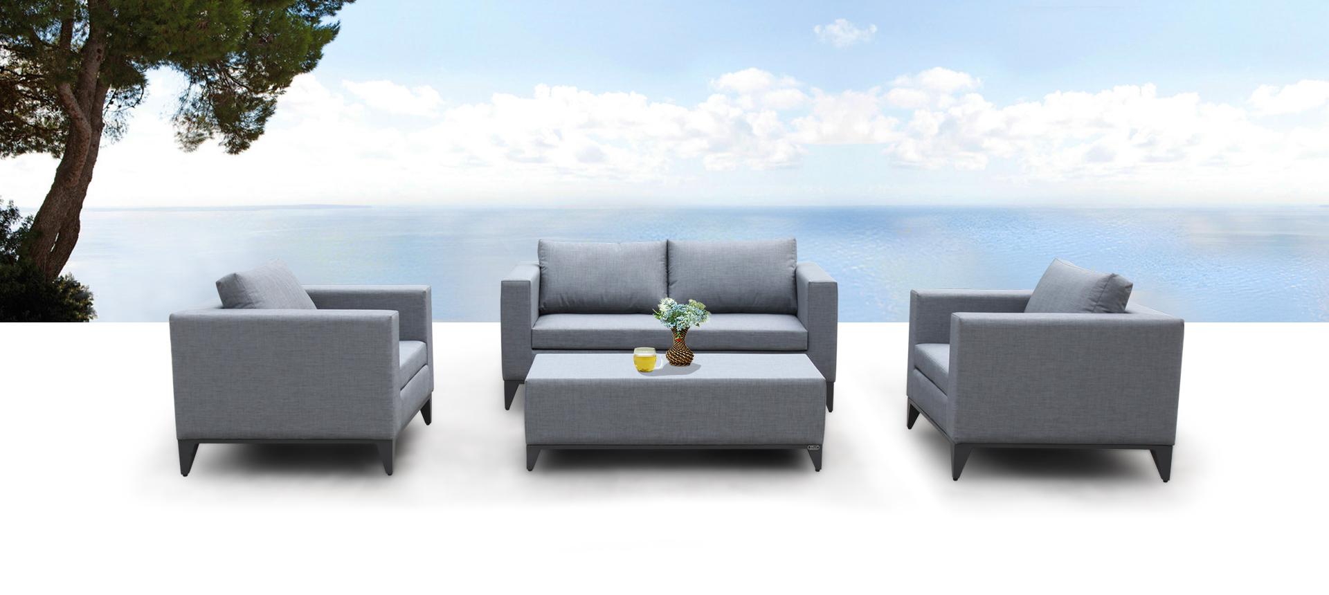Nowoczesne meble ogrodowe 4-częściowe - zestawy ogrodowe ogrodowe Meble tapicerowane Sofa i stolik kawowy Meble ogrodowe