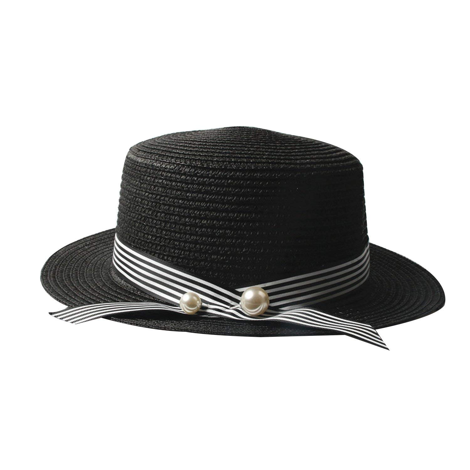 9090874ce5d Women Ribbon Round Flat Top Straw Beach Hat Panama Hat Summer Hats Straw Hat