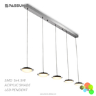 fresh outlook acrylic lamp shade led residential decorative five lamp holder led pendent linear light