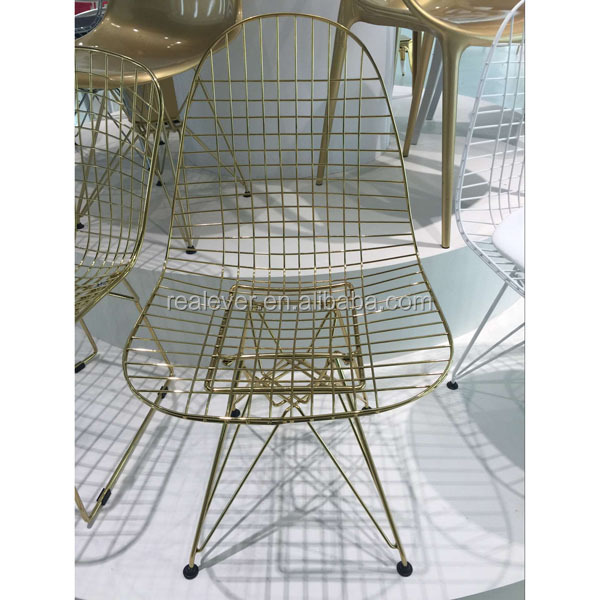 New color emes DKR wire chairs golden metal chair