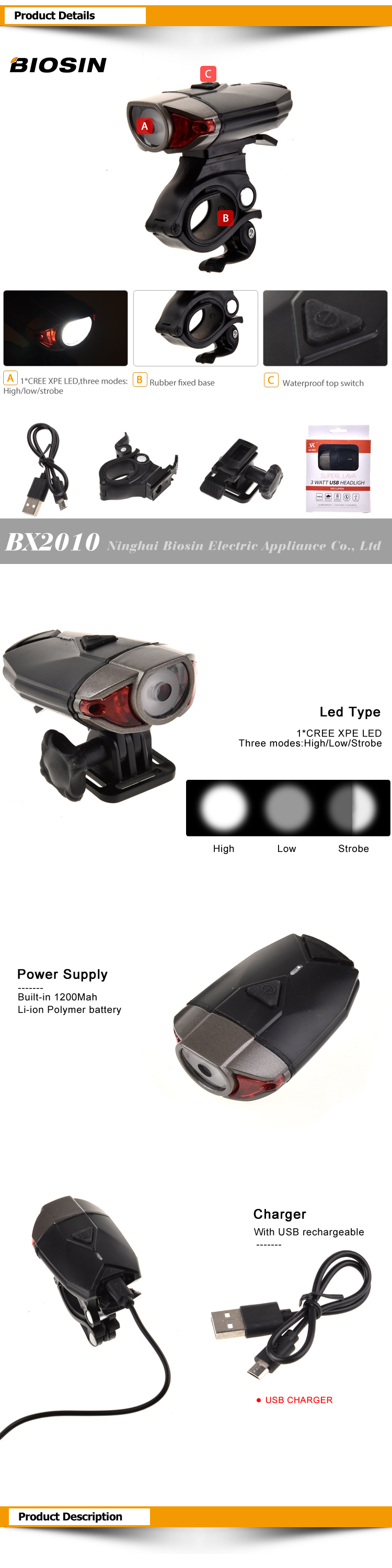 BIOSIN amazon hot selling usb rechargeable bike light set powerful lumens bicycle front light free tail light led bike front Lig