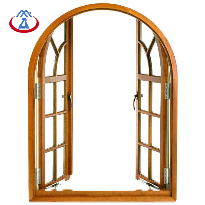 product-Factory Price Wooden Frame Tempered Glass French Arched Casement Window With Grilles-Zhongta