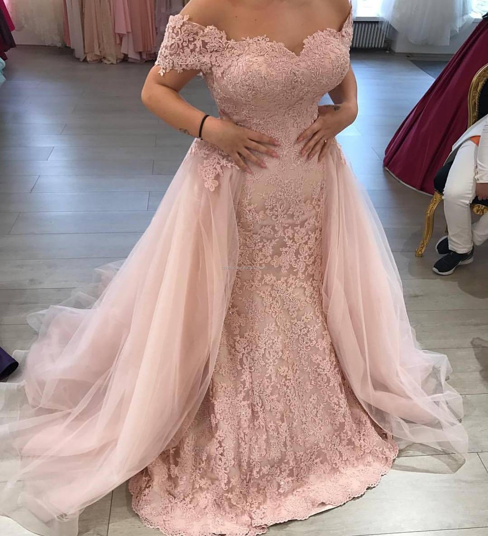 a8831b761d3 Detachable Skirt Lace Applique Elegant Dusty Pink Prom Dress - Buy ...