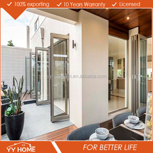 Modern house folding door toilet use with double glass and high quality hardware
