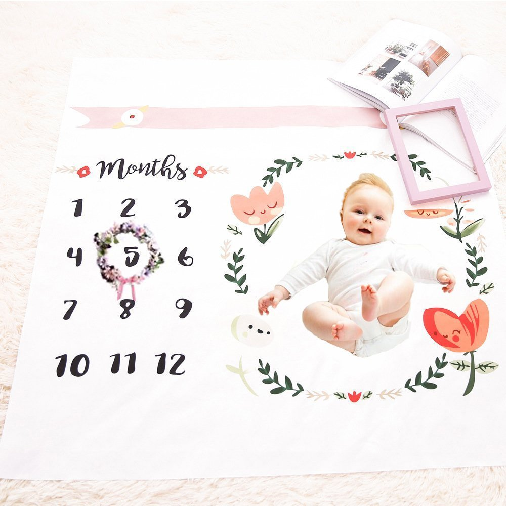 Baby Monthly Milestone Blanket, COMPATH Newborn Photo Props Shoots Backdrop, Reusable Baby Swaddling Blanket, Photography Backdrop for Newborn Boy & Girl 1 ~ 12 Month