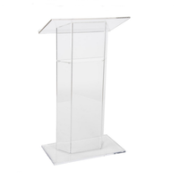 Floor Standing Assembled Clear Acrylic Podium Lectern with base