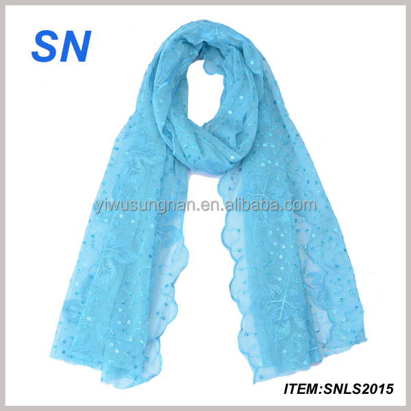 Hot Sale Fashion Hijab Embroidered Ladies Sequined Arab Scarf