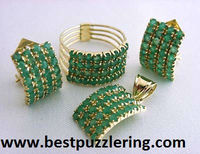 14k gold emerald turkish harem set (ring charm and earrings)