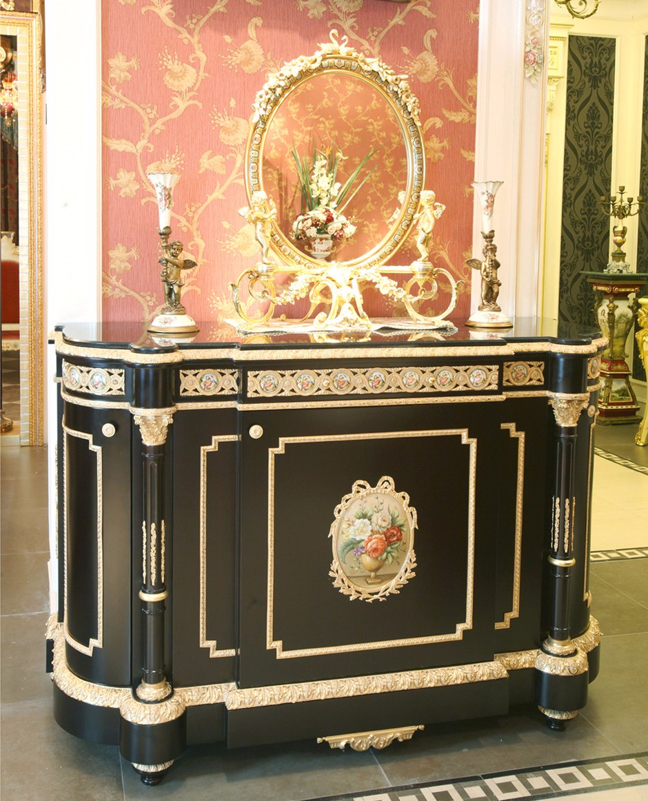 European Style Small Antique Cupboard Table/ Brass Decorated Classic  Sideboard Cabinet, Buffet - European Style Small Antique Cupboard Table/ Brass Decorated
