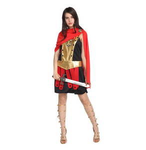 2019 Gift Tower Carnival Halloween Theme Role Play Party Costume Golden Warrior Lady