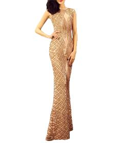 Hot halter คอ gradient sequined mermaid ชุดราตรีแม่เจ้าสาว ball gown