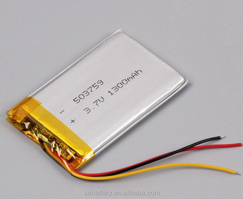 Lithium Polymer Battery Lp 503759 1300mah 3.7v 3-wire Stable Pcm ...