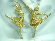 Natale <span class=keywords><strong>ornamenti</strong></span> D'attaccatura Gold Glitter Acrilico <span class=keywords><strong>ballerina</strong></span> ornamento
