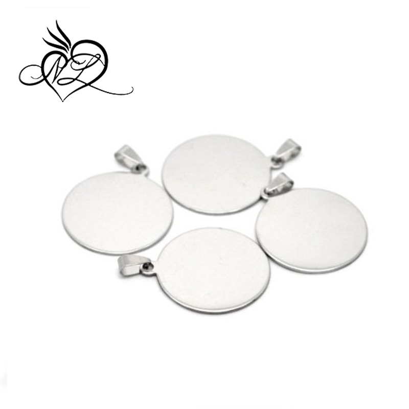Stainless Steel Stamping Blanks Tags Round Charm Pendants