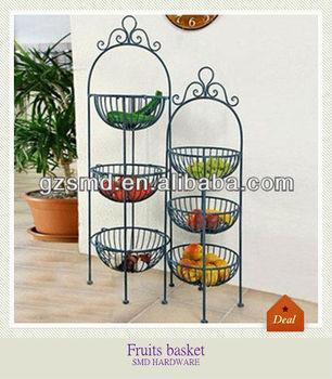 Kitchen Wrought Iron 3 Tier Fruit Basket Stand