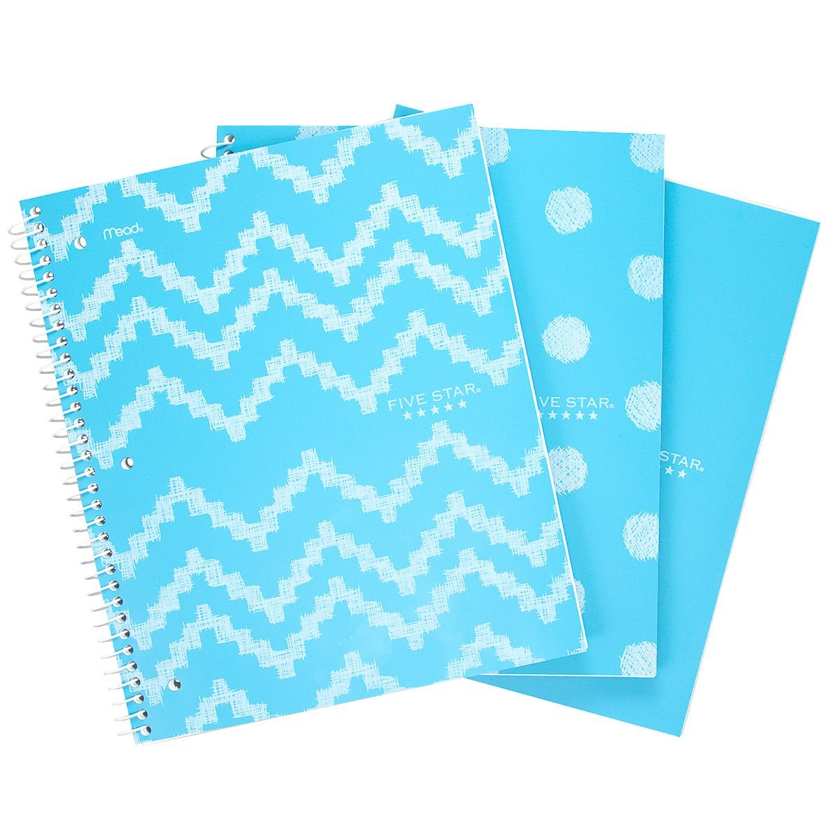 3pk mead five star 1 subject spiral notebooks 100 sheets wide ruled pockets blue journal diary school office