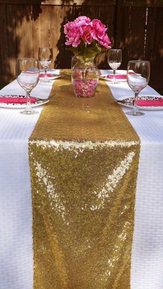 Get Quotations · ShinyBeauty 14x120-Inch Rectangle-Gold-Sequin Table Runner-  for Wedding Party e0044a1ce922