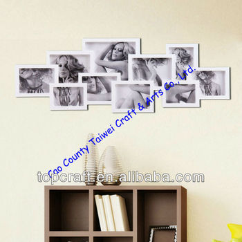 10-opening Wooden Wall White Collage Photo Picture Frame Wall Art ...