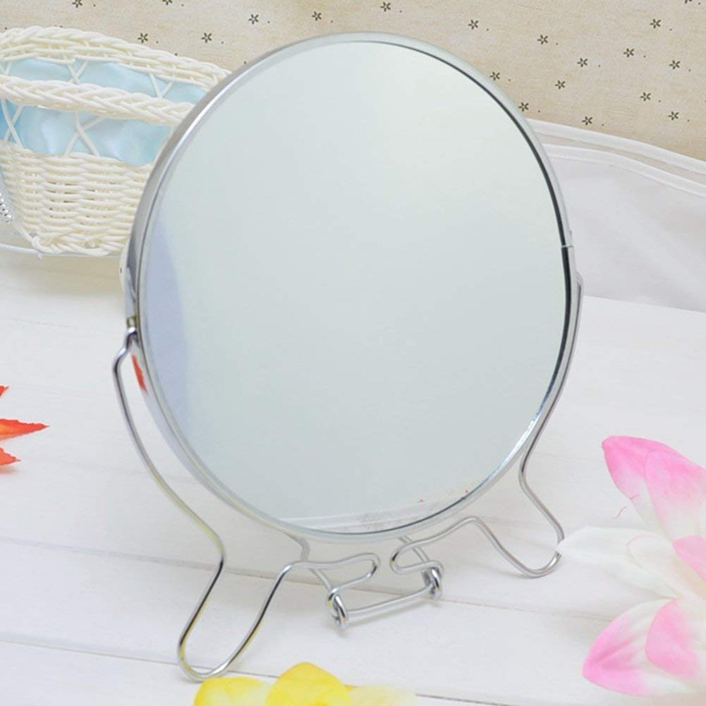 CoCocina Desktop Double Mirror European Metal Mirror Wall Mirror Portable Mirror European-Style Metal Desktop Double-Sided Vanity Mirror360 ° Freely Rotating Mirror -