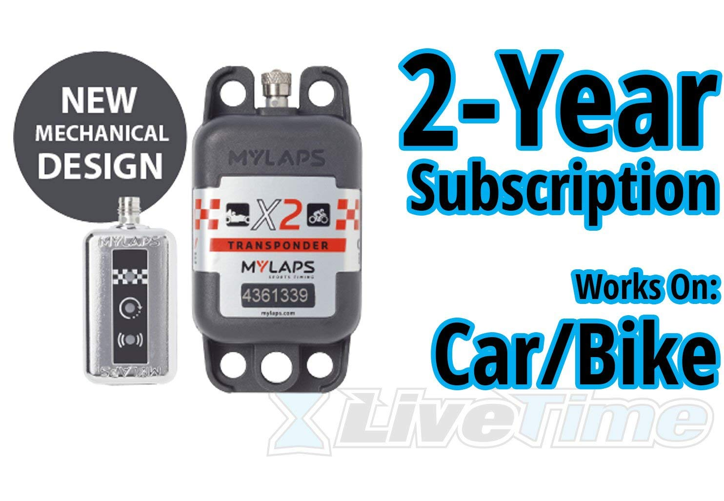MyLaps X2 Transponder, Rechargeable, for Car/Bike, includes 2-Year Subscription