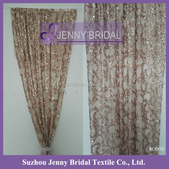 BCK73 2015 New Fancy Rose Gold Sequin Window Curtains Design