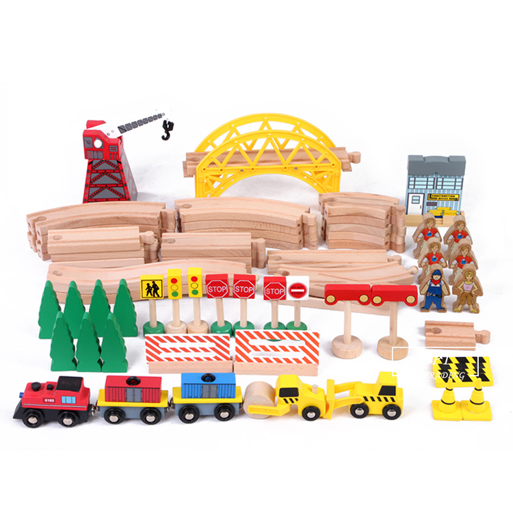 New arrival friction slot car racing sets car wooden train set toys with figures parts for sale