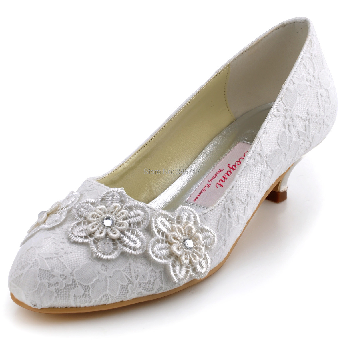 High quality round toe lace flower party shoes wedding shoes ivory low-heeled white ivory bridal shoes
