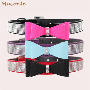 Best quality 4 colors available velvet rhinestone dog collar factory