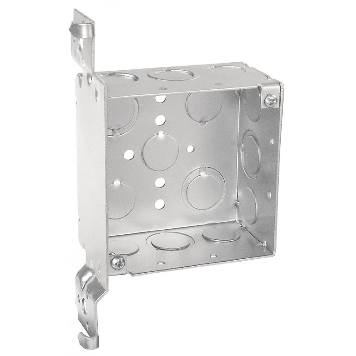 5 Pcs, 4 Square Junction Box, 2-1/8 In. Deep, w/Wood Spike Vertical Bracket, Side Knockout: (4) 1/2 In & (5) 1/2-3/4 In.; Bottom Knockout: (3) 1/2 In. & (2) 1/2-3/4 In., .0625 Galvanized Steel