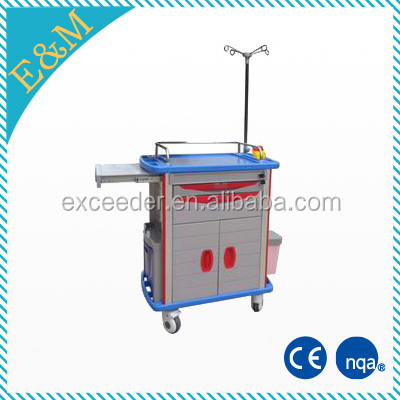 medical ABS plastic emergency trolley/crash cart/ resuscitation trolley with drawers/wheels