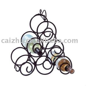 TABLE STAND SIX BOTTLES CHROME WIRE WINE RACK HOLDER STORAGE