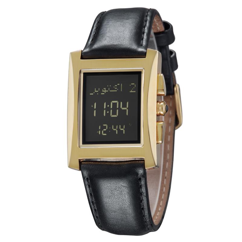 Digital Watches Muslim Prayer Wristwatch With Qibla Compass 6208 Rectangle Watch For Muslim With Prayer Alarm & Azan Time