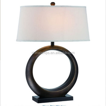 Black Metal Ring Table Lamp With Circle Base For Home Decor Or ...