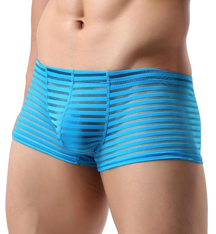 Missurous Mens Underwear Elastic Cotton Splicing Color Boxer Trunks
