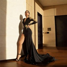 2018 Long Sleeve Evening Dress Amazing Black Gold Mermaid Prom Dresses Sexy High Slit Evening Gowns