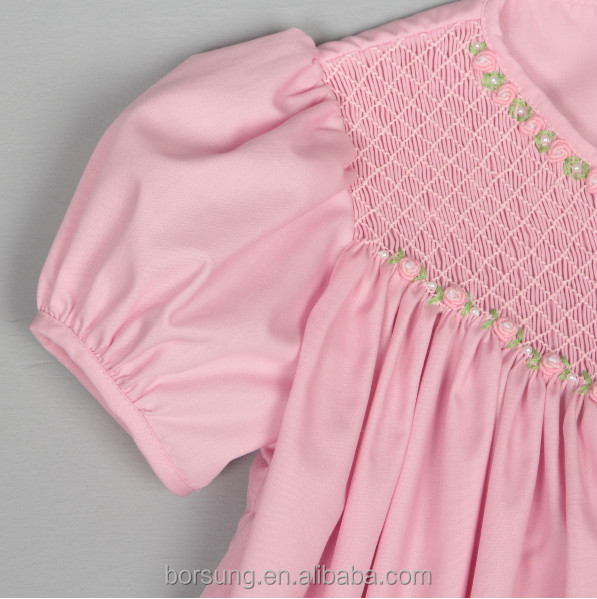Baby Cotton Frocks Designs Pink Puff Sleeve Fashion Girls ...