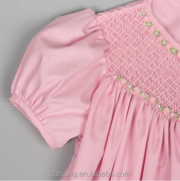 Baby Cotton Frocks Designs Pink Puff Sleeve Fashion Girls Summer ...